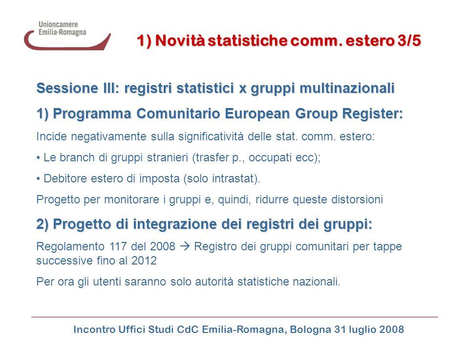 Incontro Uffici Studi CdC Emilia-Romagna, Bologna 31 luglio 2008 Sessione III: registri statistici x gruppi multinazionali 1) Programma Comunitario Eu