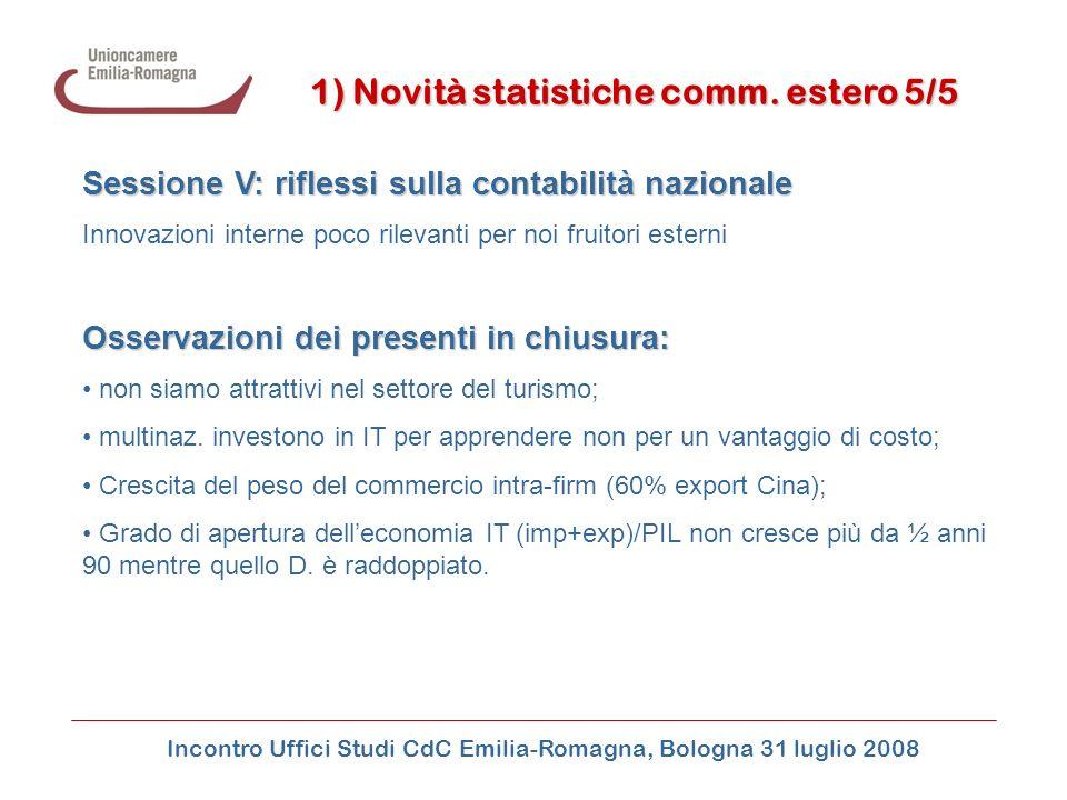 Incontro Uffici Studi CdC Emilia-Romagna, Bologna 31 luglio 2008 1) Novità statistiche comm. estero 5/5 Sessione V: riflessi sulla contabilità naziona
