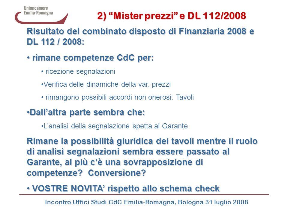 Incontro Uffici Studi CdC Emilia-Romagna, Bologna 31 luglio 2008 2) Mister prezzi e DL 112/2008 Risultato del combinato disposto di Finanziaria 2008 e
