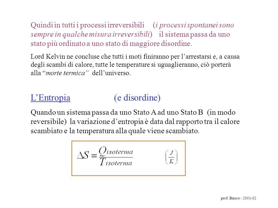 prof. Biasco - 2001-02 AzotoOssigenoAzoto Ossigeno Ossigeno Azoto Consideriamo due gas che si mescolano: Stato iniziale A: i due gas sono separati – S