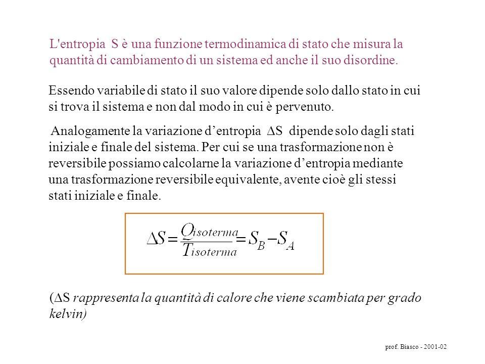 prof. Biasco - 2001-02 Quindi in tutti i processi irreversibili (i processi spontanei sono sempre in qualche misura irreversibili) il sistema passa da