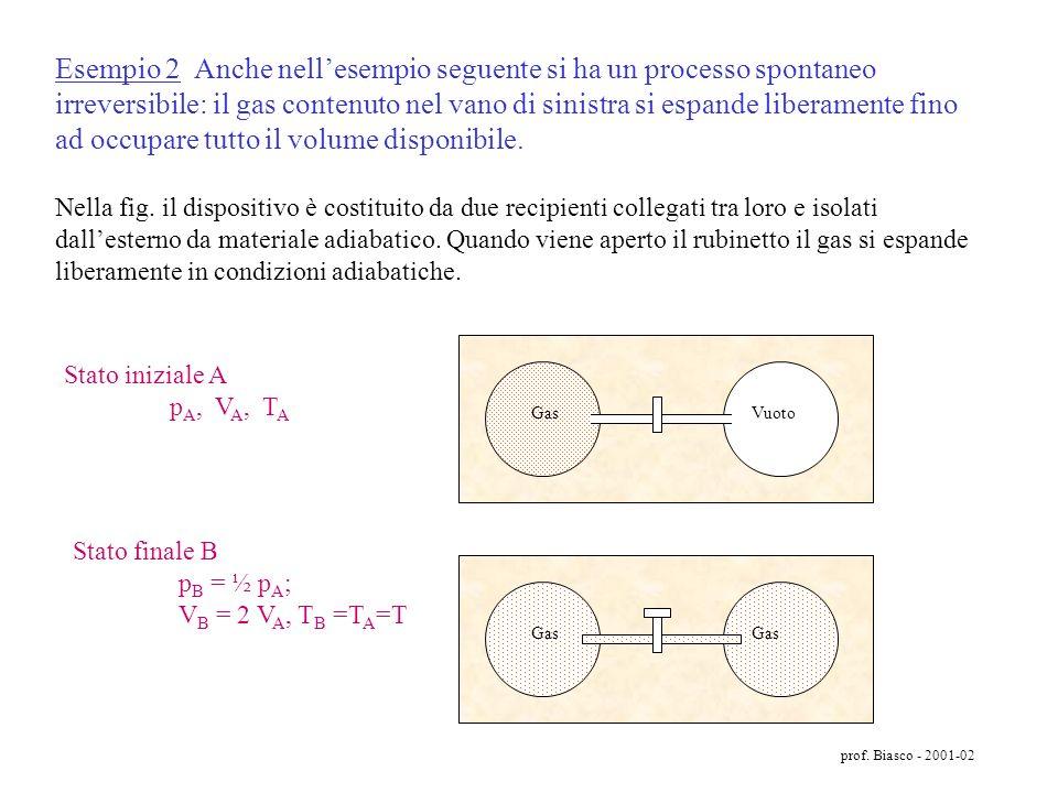 prof. Biasco - 2001-02 Esempio 1 - Il passaggio di calore da un corpo caldo ad uno freddo è un processo spontaneo irreversibile in cui si verifica un