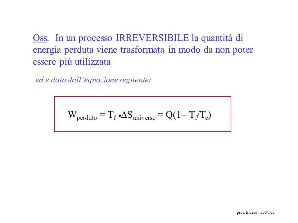 prof. Biasco - 2001-02 volume Pressione B A S sist > 0; S U > 0 S universo = S sistema + S ambiente > 0 In un CICLO o in una TRASFORMAZIONE IRREVERSIB
