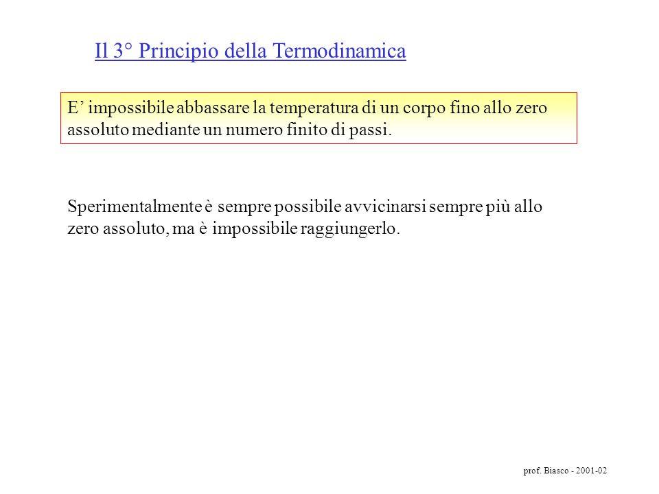 prof. Biasco - 2001-02 W perduto = T f S universo = Q(1 T f /T c ) Oss. In un processo IRREVERSIBILE la quantità di energia perduta viene trasformata