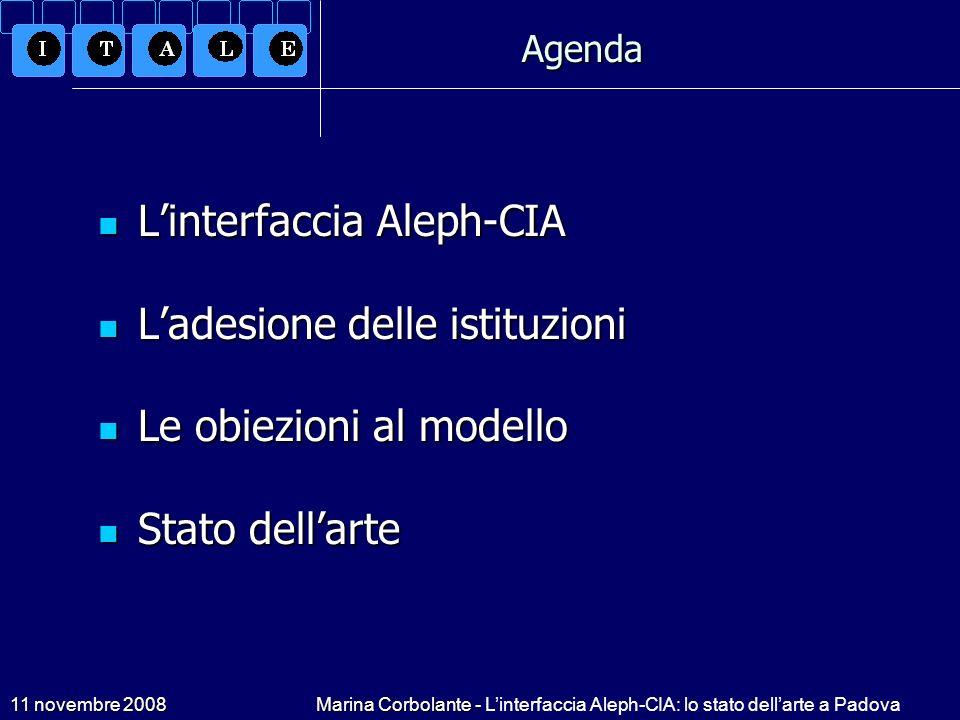 11 novembre 2008Marina Corbolante - Linterfaccia Aleph-CIA: lo stato dellarte a Padova Linterfaccia Aleph-CIA Modello sviluppato da: UniPD, UniFI, Atlantis e Cineca Modello sviluppato da: UniPD, UniFI, Atlantis e Cineca Interfacciamento con CIA del modulo Aleph ACQ e della gestione copie (CAT) Interfacciamento con CIA del modulo Aleph ACQ e della gestione copie (CAT) Modello di interazione batch, perché CIA non gestisce Web services Modello di interazione batch, perché CIA non gestisce Web services Scartata lipotesi di gestire in connessione gli ordini e i budget Scartata lipotesi di gestire in connessione gli ordini e i budget