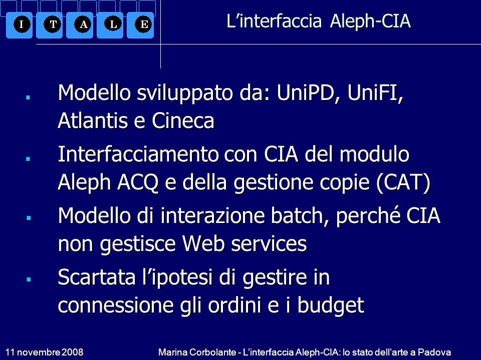 11 novembre 2008Marina Corbolante - Linterfaccia Aleph-CIA: lo stato dellarte a Padova Linterfaccia Aleph-CIA Modello sviluppato da: UniPD, UniFI, Atl