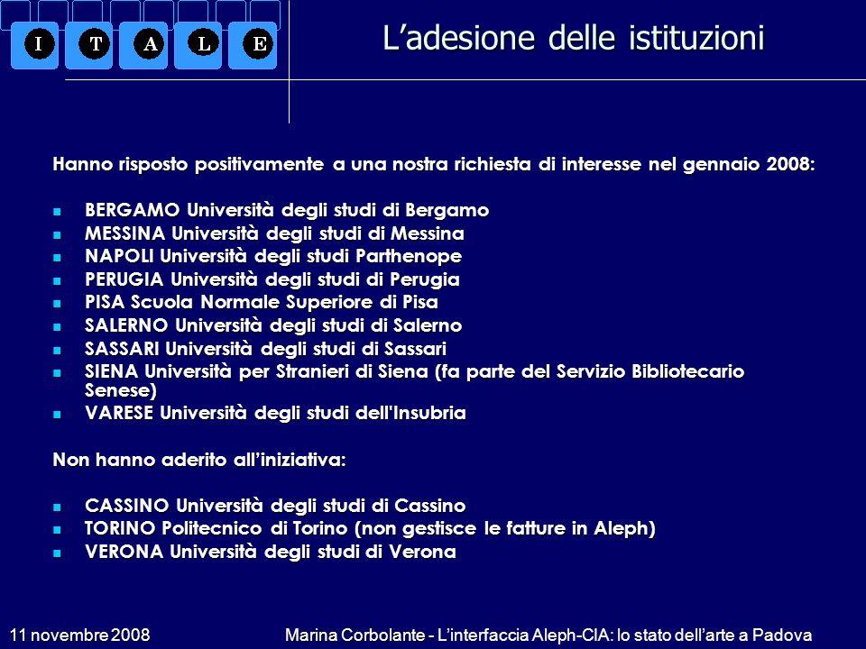 11 novembre 2008Marina Corbolante - Linterfaccia Aleph-CIA: lo stato dellarte a Padova Ladesione delle istituzioni Hanno risposto positivamente a una