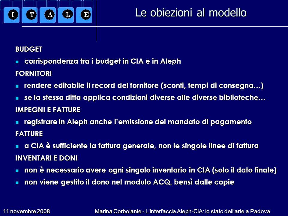 11 novembre 2008Marina Corbolante - Linterfaccia Aleph-CIA: lo stato dellarte a Padova Le obiezioni al modello BUDGET corrispondenza tra i budget in C