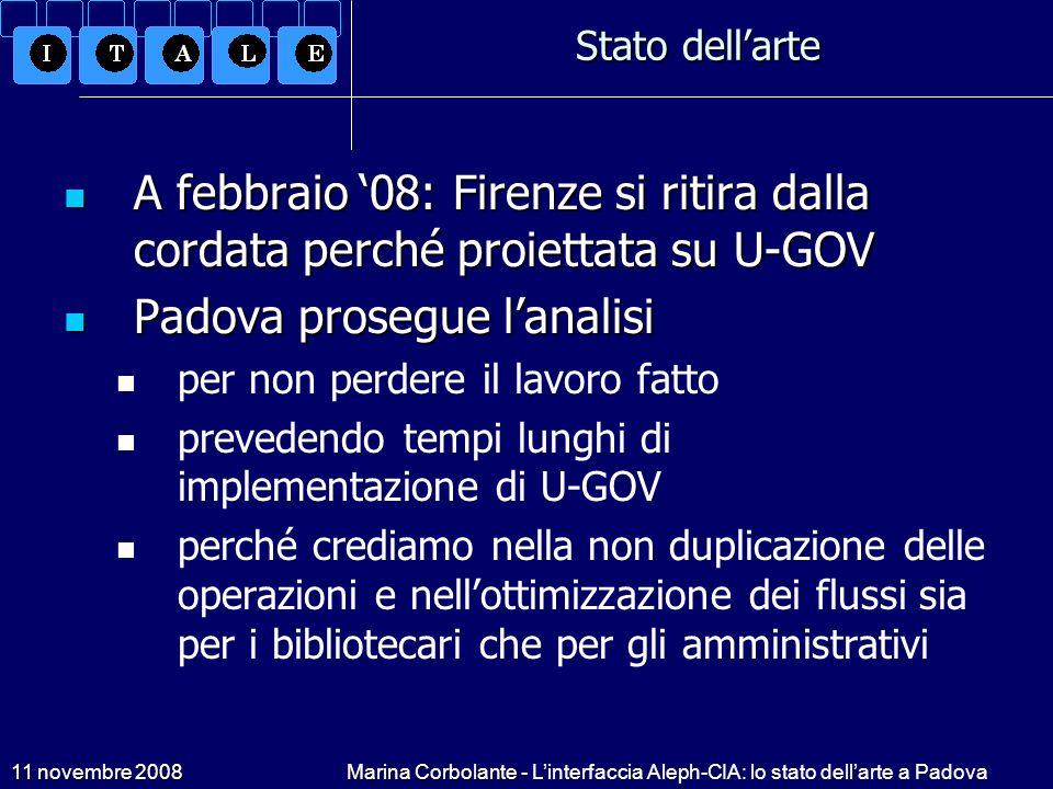 11 novembre 2008Marina Corbolante - Linterfaccia Aleph-CIA: lo stato dellarte a Padova Stato dellarte A febbraio 08: Firenze si ritira dalla cordata p