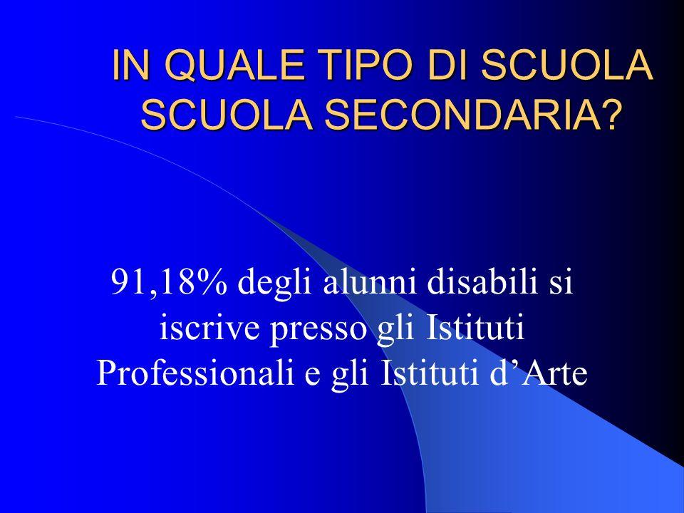 IN QUALE TIPO DI SCUOLA SCUOLA SECONDARIA? 91,18% degli alunni disabili si iscrive presso gli Istituti Professionali e gli Istituti dArte