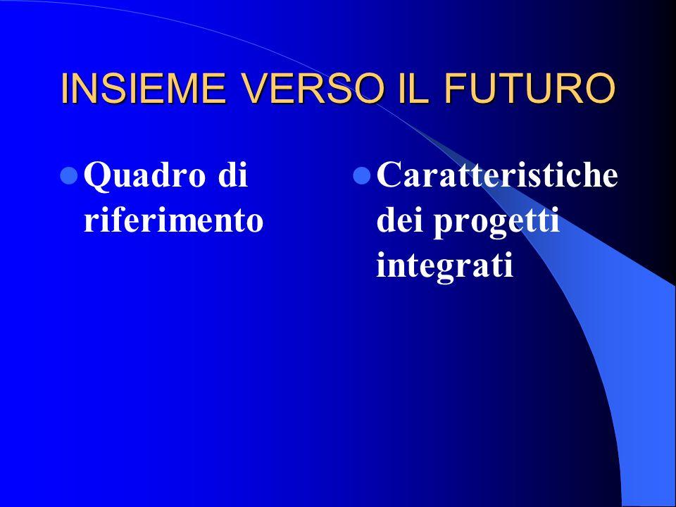 INSIEME VERSO IL FUTURO Quadro di riferimento Caratteristiche dei progetti integrati