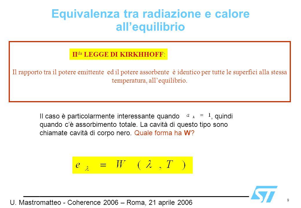 9 Il rapporto tra il potere emittente ed il potere assorbente è identico per tutte le superfici alla stessa temperatura, allequilibrio. II da LEGGE DI