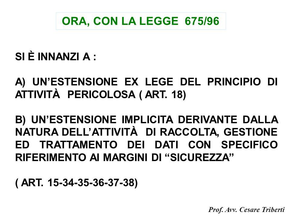 ORA, CON LA LEGGE 675/96 SI È INNANZI A : A) UNESTENSIONE EX LEGE DEL PRINCIPIO DI ATTIVITÀ PERICOLOSA ( ART.