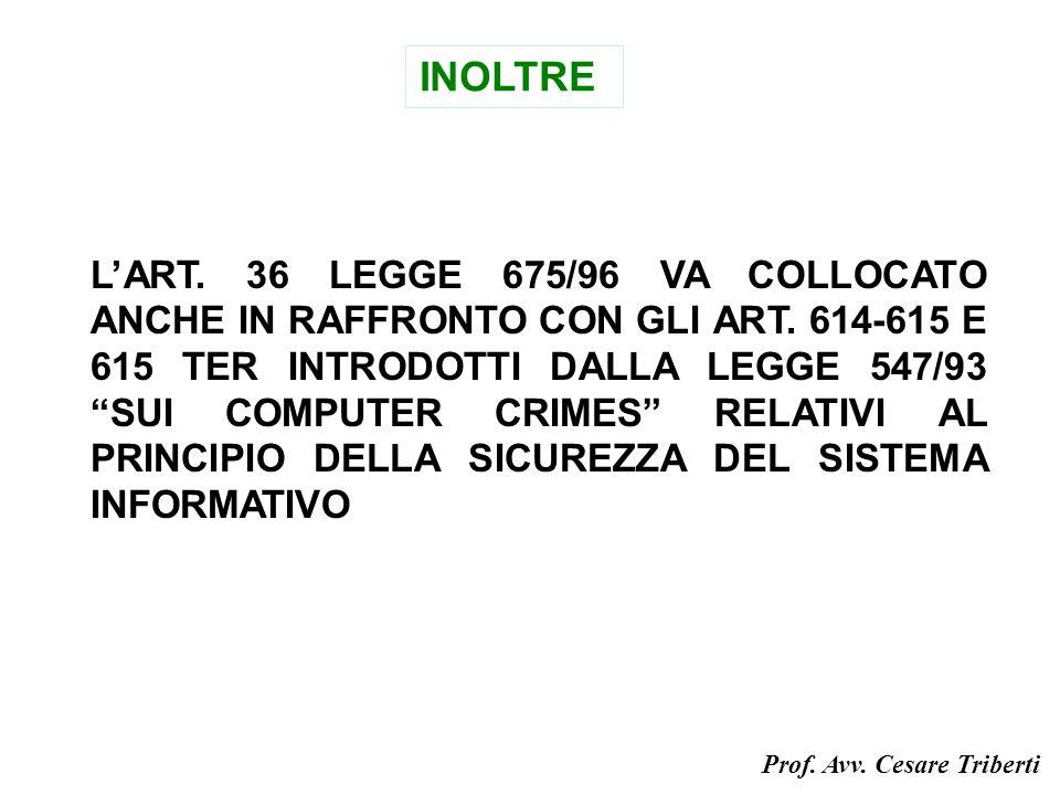 INOLTRE LART. 36 LEGGE 675/96 VA COLLOCATO ANCHE IN RAFFRONTO CON GLI ART.