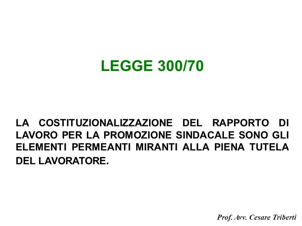 LEGGE 300/70 LA COSTITUZIONALIZZAZIONE DEL RAPPORTO DI LAVORO PER LA PROMOZIONE SINDACALE SONO GLI ELEMENTI PERMEANTI MIRANTI ALLA PIENA TUTELA DEL LAVORATORE.