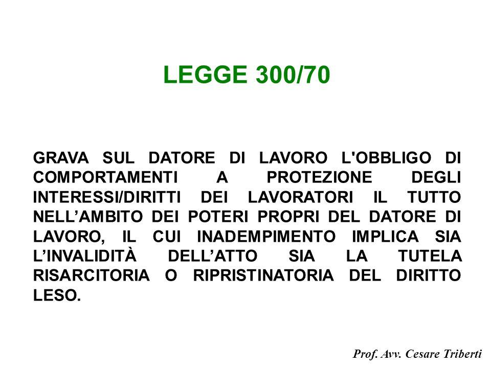 LEGGE 300/70 GRAVA SUL DATORE DI LAVORO L OBBLIGO DI COMPORTAMENTI A PROTEZIONE DEGLI INTERESSI/DIRITTI DEI LAVORATORI IL TUTTO NELLAMBITO DEI POTERI PROPRI DEL DATORE DI LAVORO, IL CUI INADEMPIMENTO IMPLICA SIA LINVALIDITÀ DELLATTO SIA LA TUTELA RISARCITORIA O RIPRISTINATORIA DEL DIRITTO LESO.