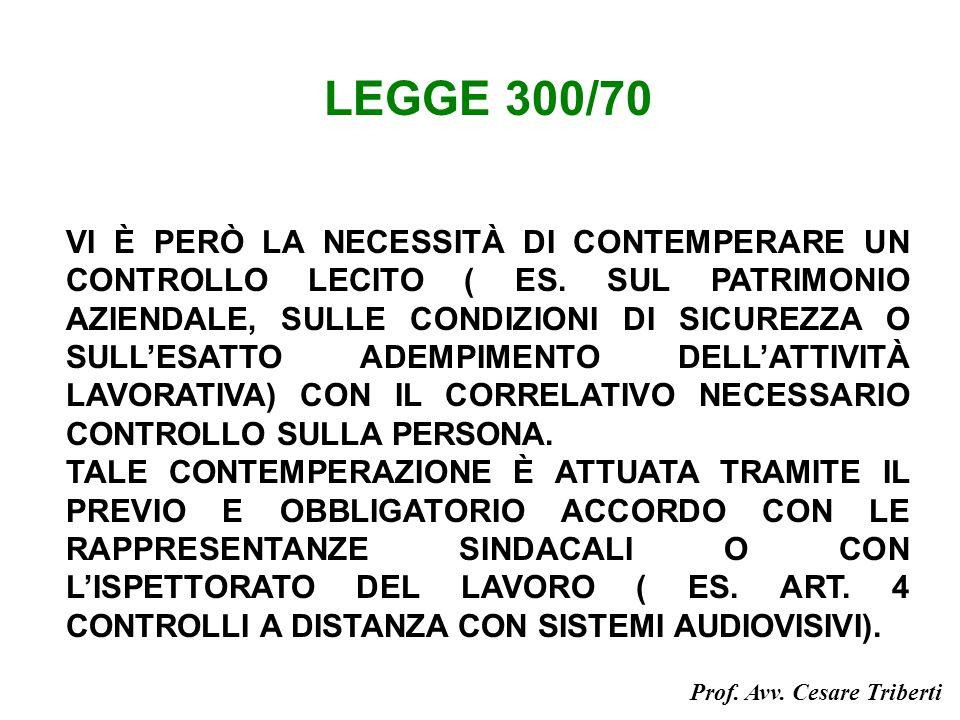 LEGGE 300/70 VI È PERÒ LA NECESSITÀ DI CONTEMPERARE UN CONTROLLO LECITO ( ES.