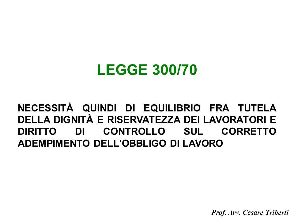 LEGGE 300/70 NECESSITÀ QUINDI DI EQUILIBRIO FRA TUTELA DELLA DIGNITÀ E RISERVATEZZA DEI LAVORATORI E DIRITTO DI CONTROLLO SUL CORRETTO ADEMPIMENTO DELL OBBLIGO DI LAVORO Prof.