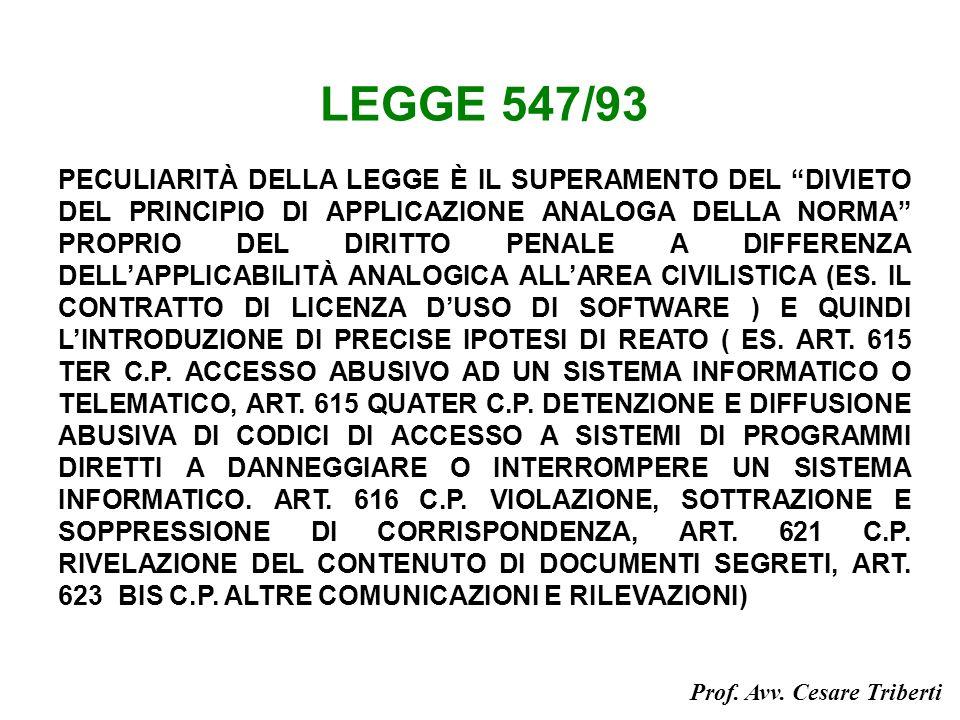 LEGGE 547/93 PECULIARITÀ DELLA LEGGE È IL SUPERAMENTO DEL DIVIETO DEL PRINCIPIO DI APPLICAZIONE ANALOGA DELLA NORMA PROPRIO DEL DIRITTO PENALE A DIFFERENZA DELLAPPLICABILITÀ ANALOGICA ALLAREA CIVILISTICA (ES.