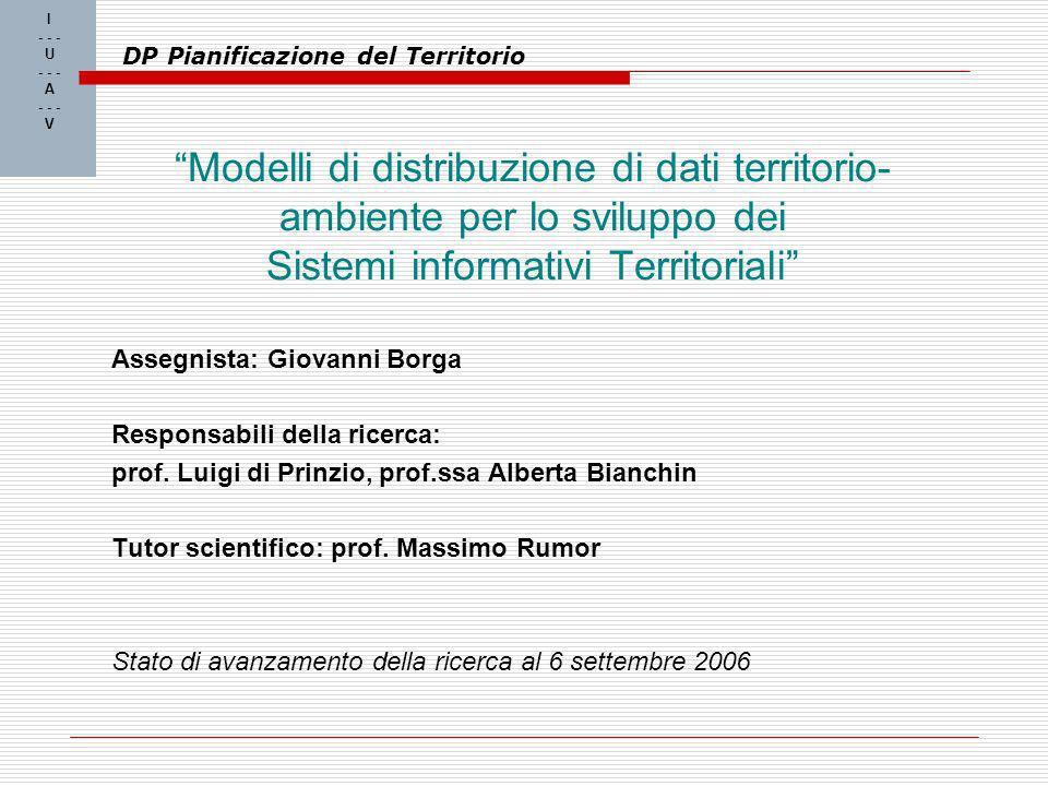 I - - - U - - - A - - - V DP Pianificazione del Territorio Modelli di distribuzione di dati territorio- ambiente per lo sviluppo dei Sistemi informativi Territoriali Assegnista: Giovanni Borga Responsabili della ricerca: prof.