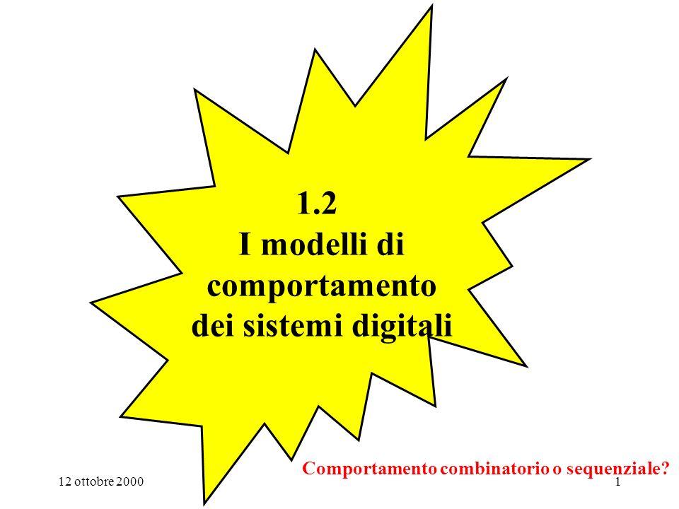 12 ottobre 20001 1.2 I modelli di comportamento dei sistemi digitali Comportamento combinatorio o sequenziale?