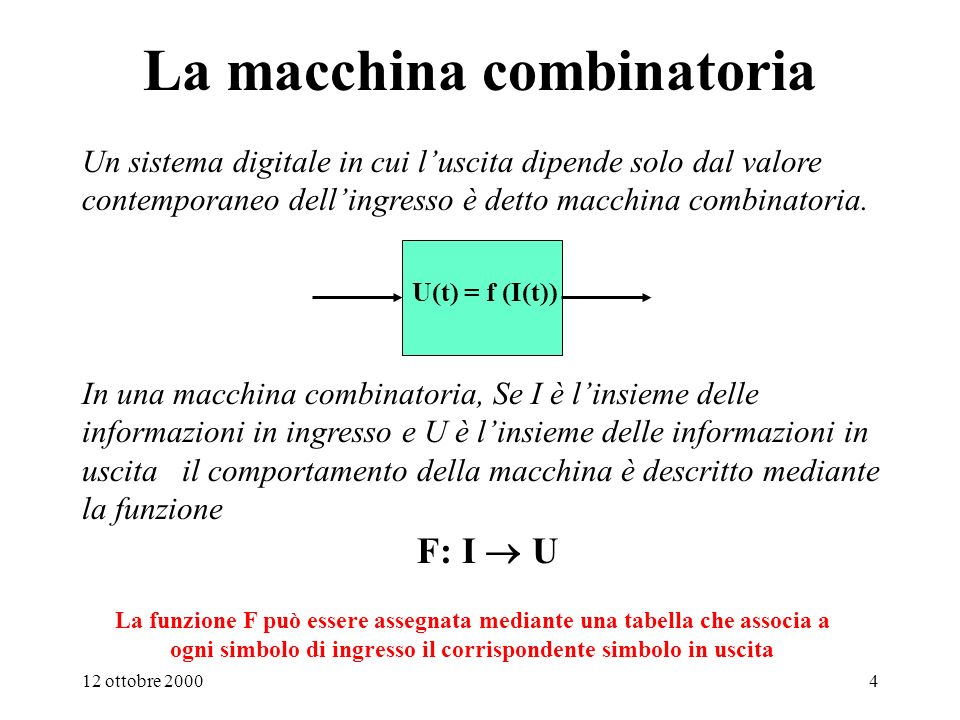 12 ottobre 20004 In una macchina combinatoria, Se I è linsieme delle informazioni in ingresso e U è linsieme delle informazioni in uscita il comportamento della macchina è descritto mediante la funzione F: I U La macchina combinatoria Un sistema digitale in cui luscita dipende solo dal valore contemporaneo dellingresso è detto macchina combinatoria.