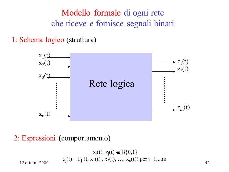 12 ottobre 200041 Analisi e sintesi di reti logiche sequenziali