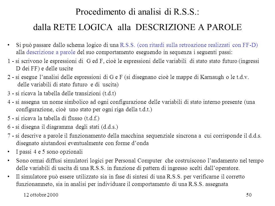12 ottobre 200049 Procedimento di sintesi di R.S.S.: dalla DESCRIZIONE A PAROLE alla RETE LOGICA Si può passare da una descrizione a parole del funzionamento di una macchina sequenziale sincrona alla R.S.S.