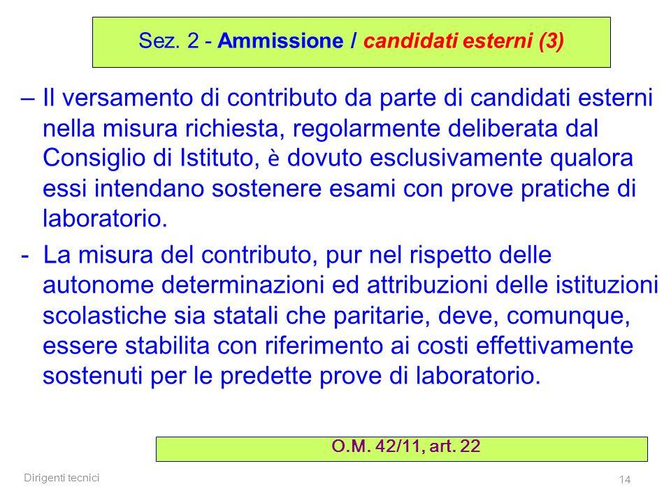 Dirigenti tecnici 14 – Il versamento di contributo da parte di candidati esterni nella misura richiesta, regolarmente deliberata dal Consiglio di Isti