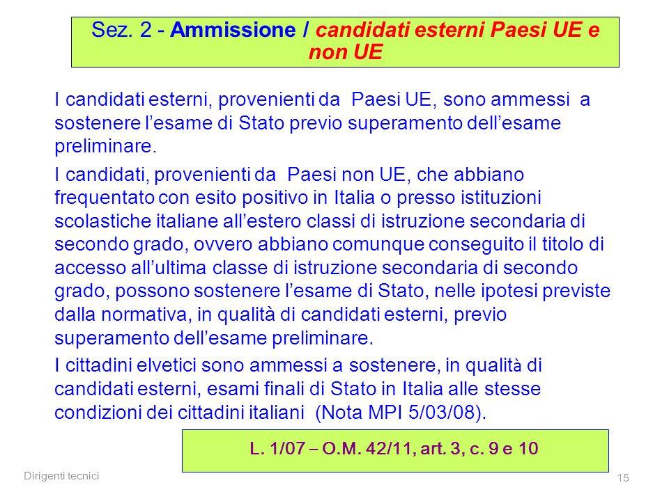 Dirigenti tecnici 15 I candidati esterni, provenienti da Paesi UE, sono ammessi a sostenere lesame di Stato previo superamento dellesame preliminare.
