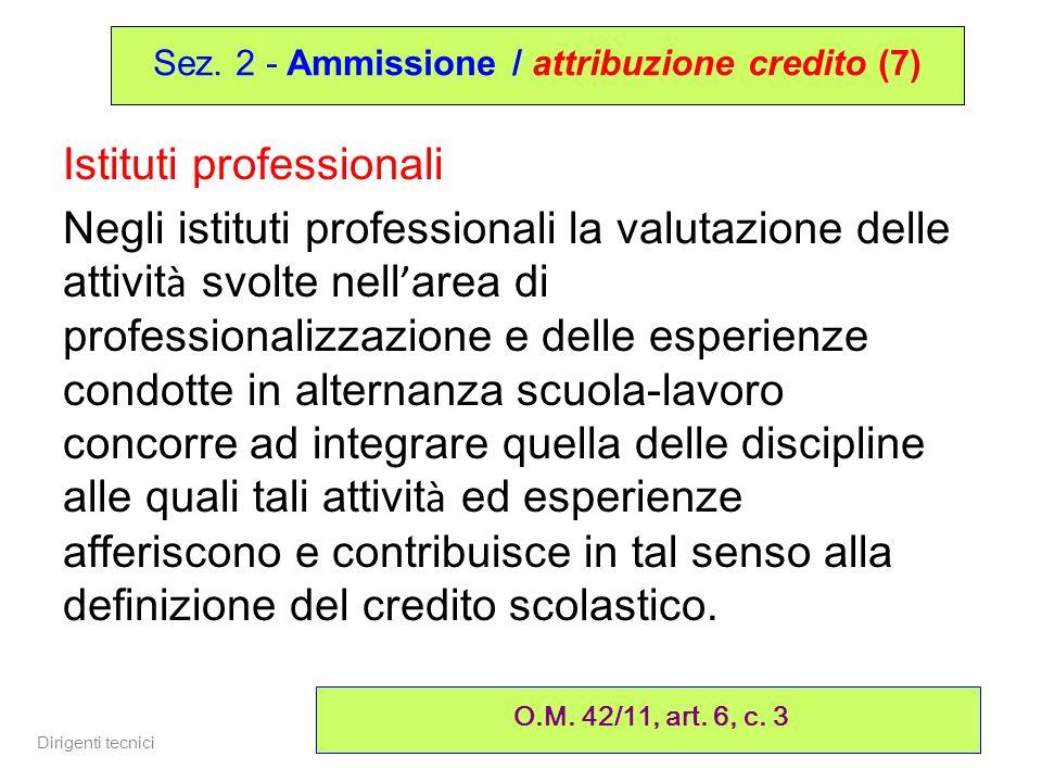 Dirigenti tecnici 22 Istituti professionali Negli istituti professionali la valutazione delle attivit à svolte nell area di professionalizzazione e de