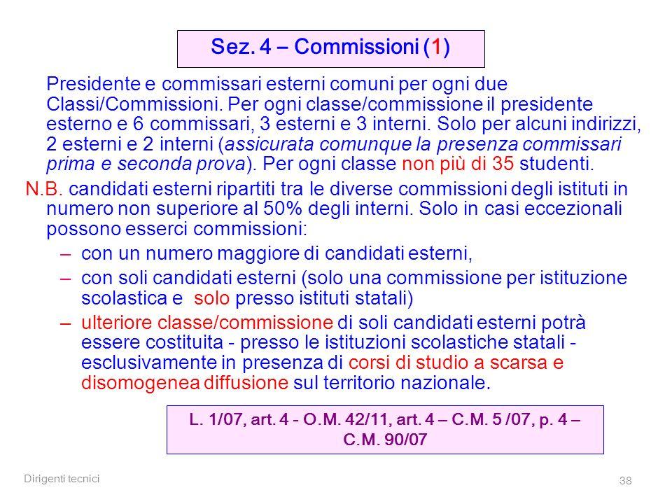 Dirigenti tecnici 38 Presidente e commissari esterni comuni per ogni due Classi/Commissioni. Per ogni classe/commissione il presidente esterno e 6 com