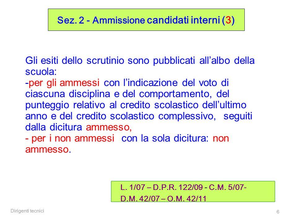 Dirigenti tecnici 17 Sez.2 - Ammissione / attribuzione credito (2) D.M.