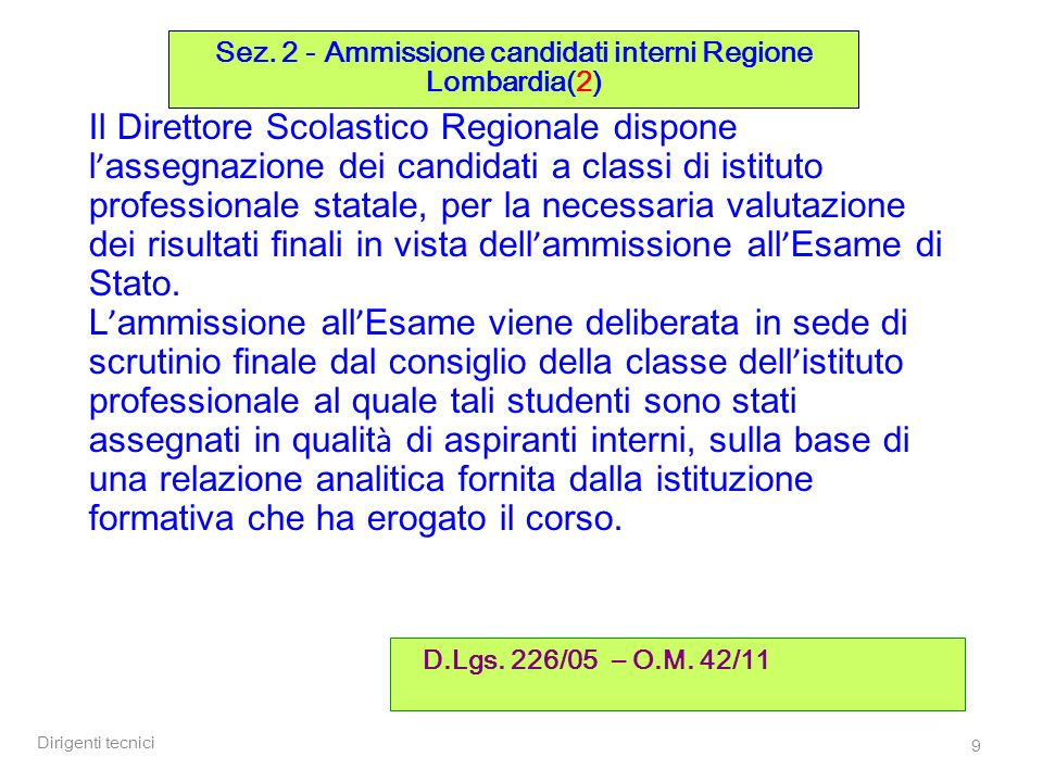 Dirigenti tecnici 20 Candidati interni ( O.M.42/11 art.