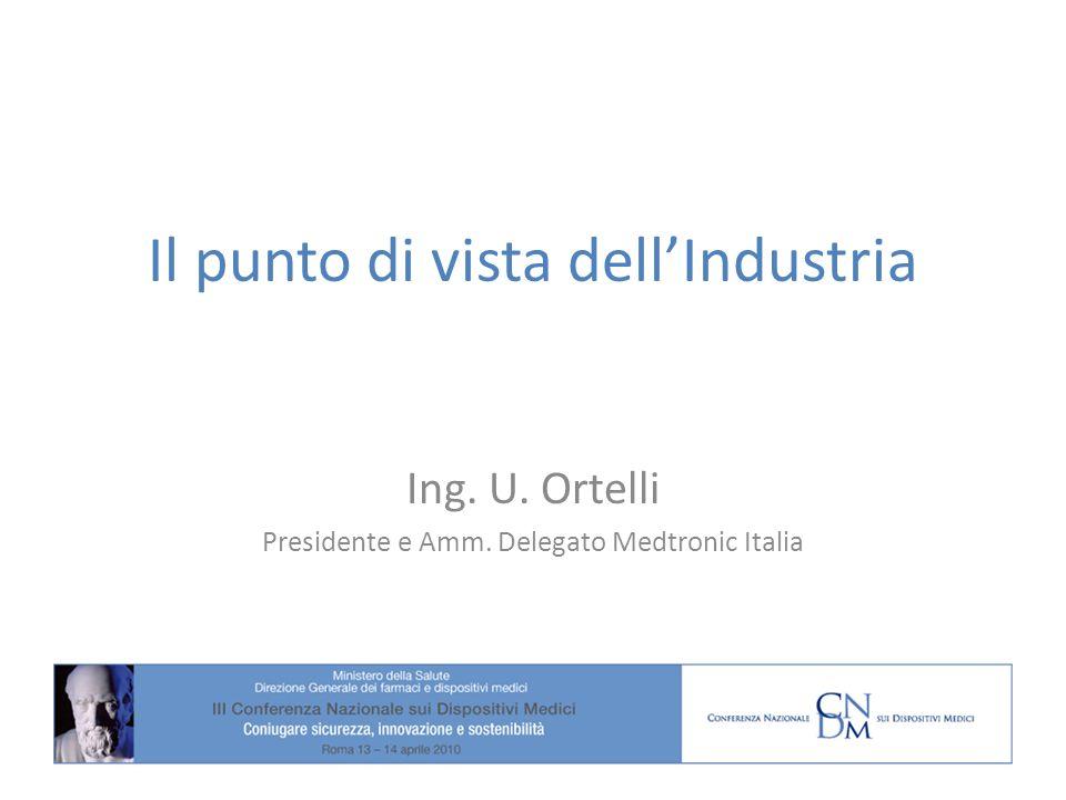 Il punto di vista dellIndustria Ing. U. Ortelli Presidente e Amm. Delegato Medtronic Italia