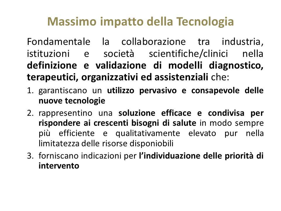 Massimo impatto della Tecnologia Fondamentale la collaborazione tra industria, istituzioni e società scientifiche/clinici nella definizione e validazi