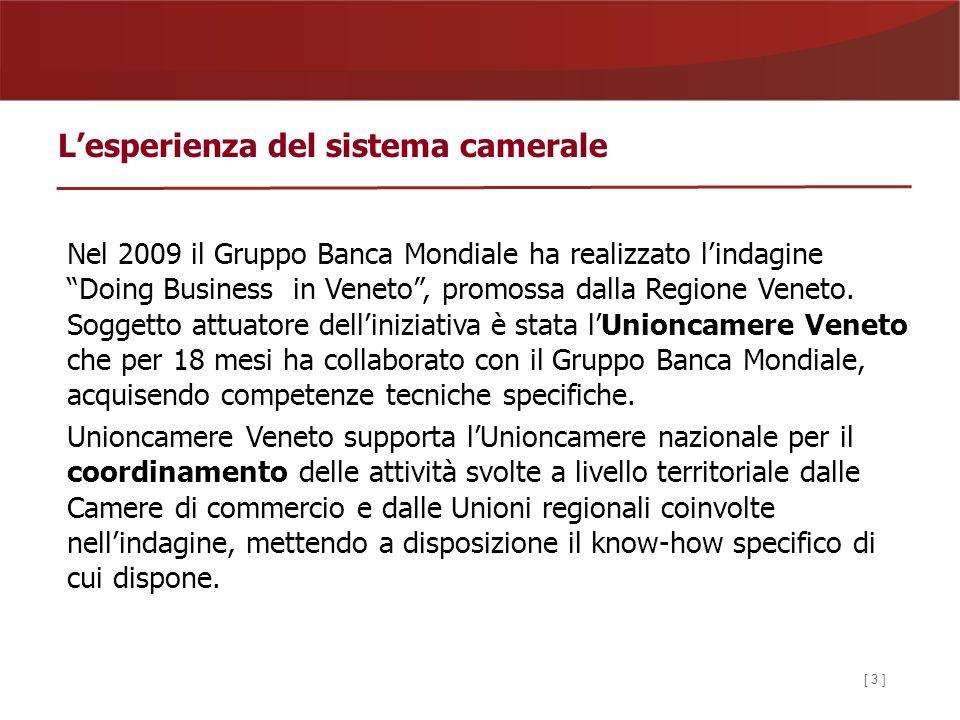 [ 3 ] Lesperienza del sistema camerale Nel 2009 il Gruppo Banca Mondiale ha realizzato lindagine Doing Business in Veneto, promossa dalla Regione Veneto.