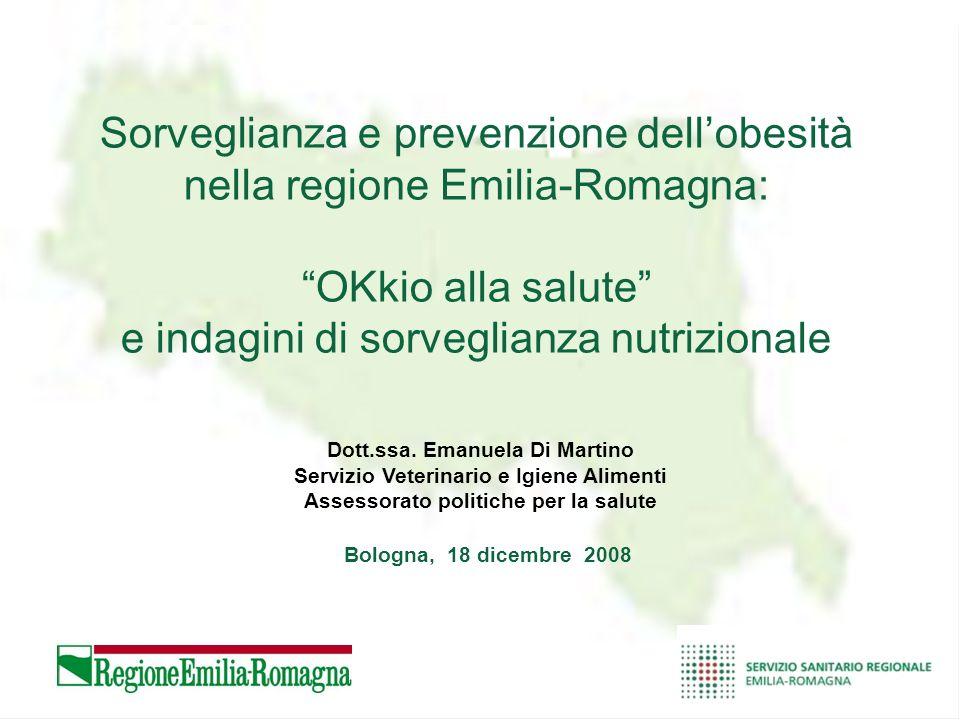 Sorveglianza e prevenzione dellobesità nella regione Emilia-Romagna: OKkio alla salute e indagini di sorveglianza nutrizionale Dott.ssa. Emanuela Di M