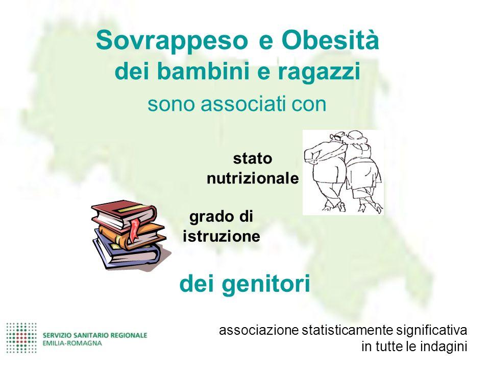 stato nutrizionale grado di istruzione Sovrappeso e Obesità dei bambini e ragazzi sono associati con dei genitori associazione statisticamente signifi