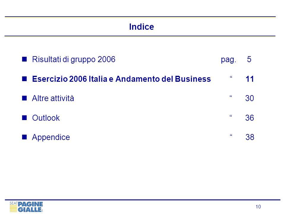 10 Indice Risultati di gruppo 2006 pag. 5 Esercizio 2006 Italia e Andamento del Business 11 Altre attività 30 Outlook 36 Appendice 38