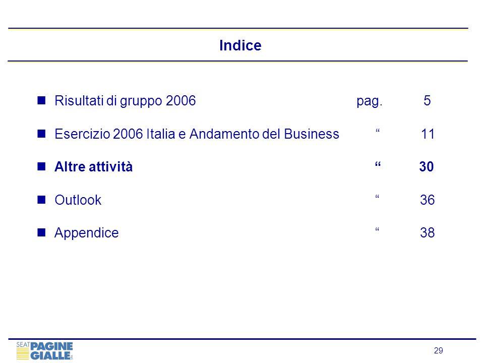 29 Indice Risultati di gruppo 2006 pag.5 Esercizio 2006 Italia e Andamento del Business 11 Altre attività 30 Outlook 36 Appendice 38