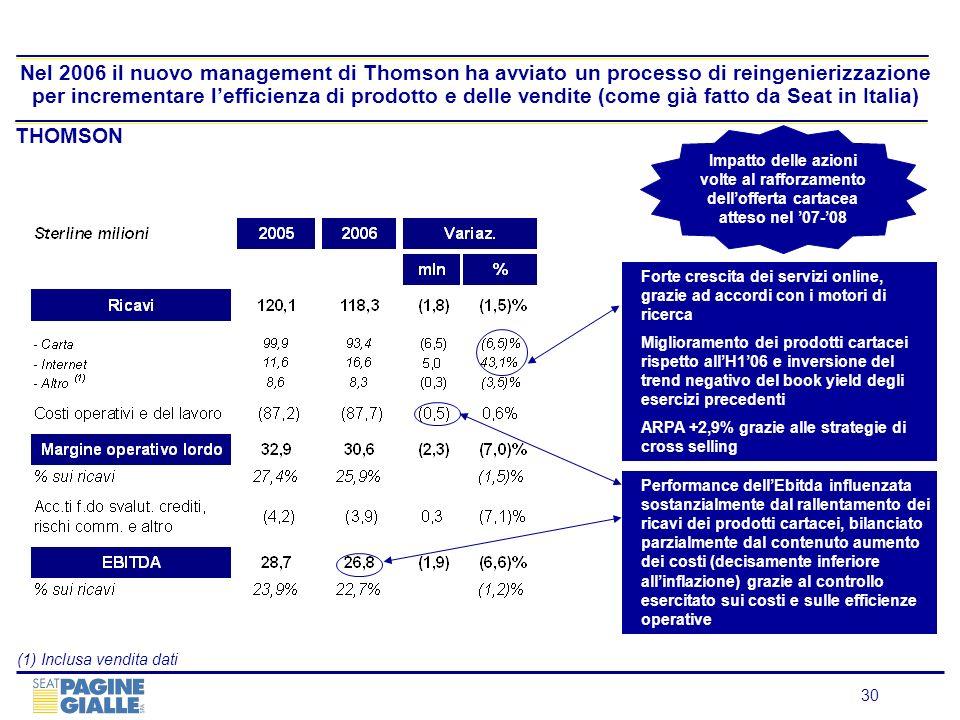 30 Nel 2006 il nuovo management di Thomson ha avviato un processo di reingenierizzazione per incrementare lefficienza di prodotto e delle vendite (com