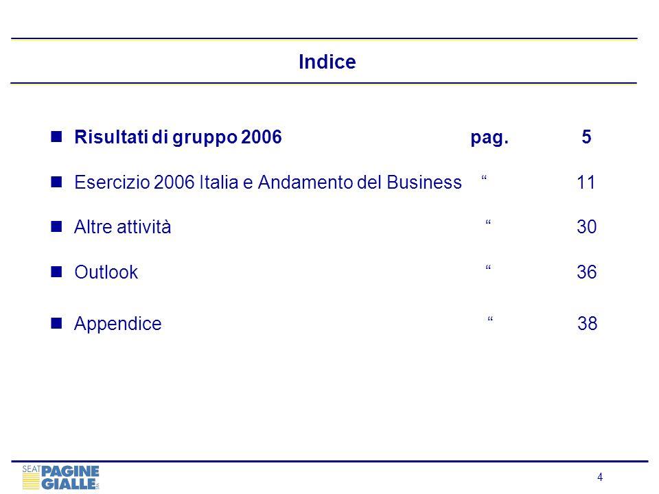 4 Indice Risultati di gruppo 2006 pag. 5 Esercizio 2006 Italia e Andamento del Business 11 Altre attività 30 Outlook 36 Appendice 38