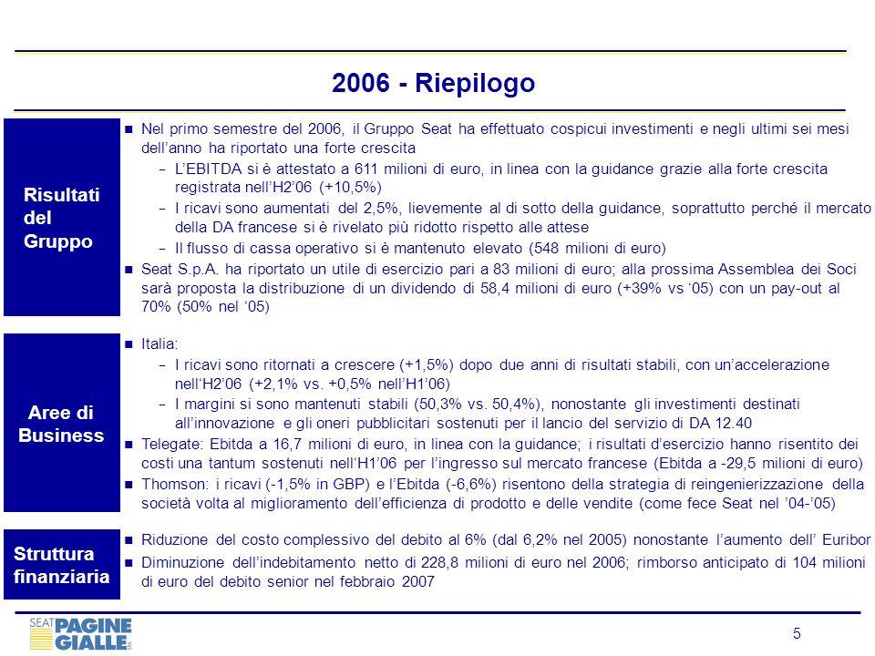 5 Italia: I ricavi sono ritornati a crescere (+1,5%) dopo due anni di risultati stabili, con unaccelerazione nellH206 (+2,1% vs. +0,5% nellH106) I mar