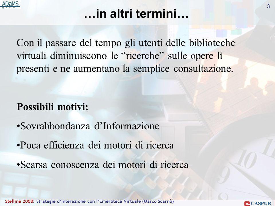 3 Stelline 2008: Strategie dinterazione con lEmeroteca Virtuale (Marco Scarnò) Con il passare del tempo gli utenti delle biblioteche virtuali diminuiscono le ricerche sulle opere lì presenti e ne aumentano la semplice consultazione.