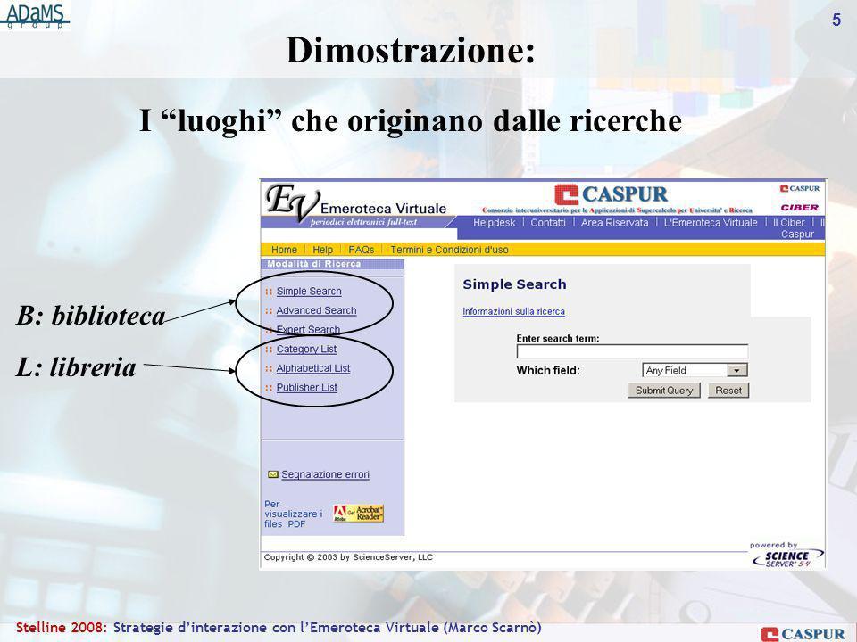 5 Stelline 2008: Strategie dinterazione con lEmeroteca Virtuale (Marco Scarnò) B: biblioteca L: libreria Dimostrazione: I luoghi che originano dalle ricerche