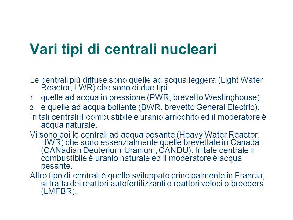 Vari tipi di centrali nucleari Le centrali più diffuse sono quelle ad acqua leggera (Light Water Reactor, LWR) che sono di due tipi: 1. quelle ad acqu