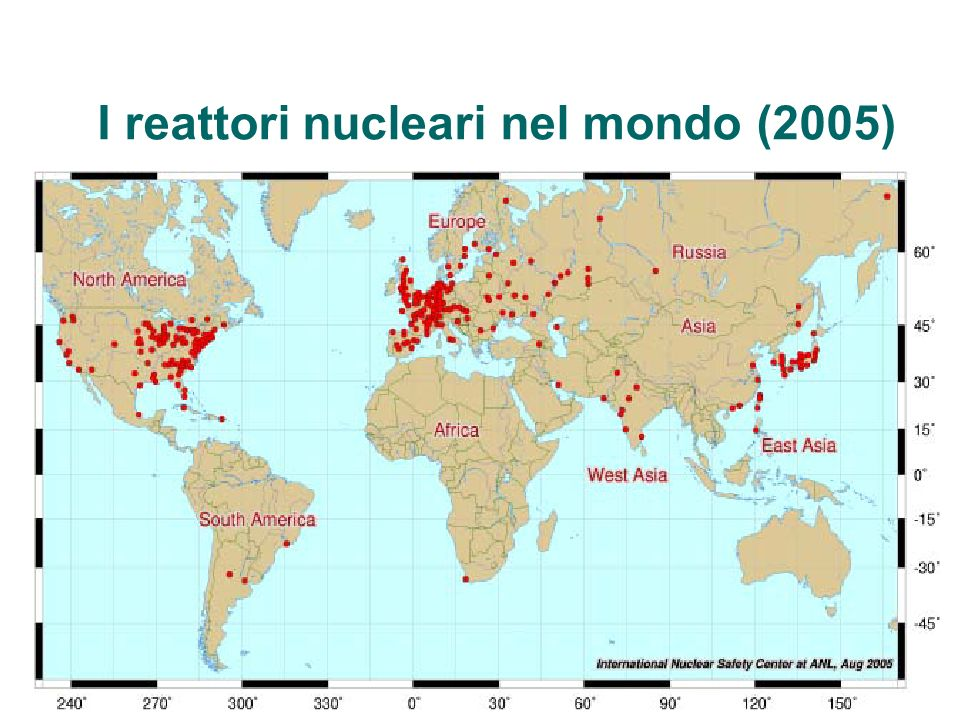 I reattori nucleari nel mondo (2005)