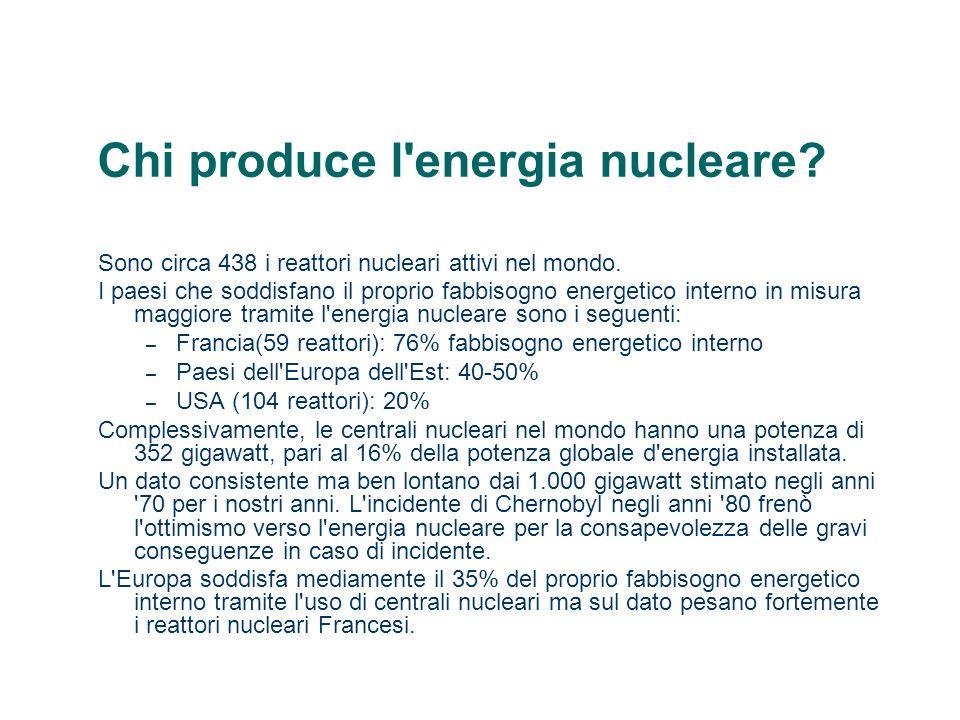 Chi produce l'energia nucleare? Sono circa 438 i reattori nucleari attivi nel mondo. I paesi che soddisfano il proprio fabbisogno energetico interno i