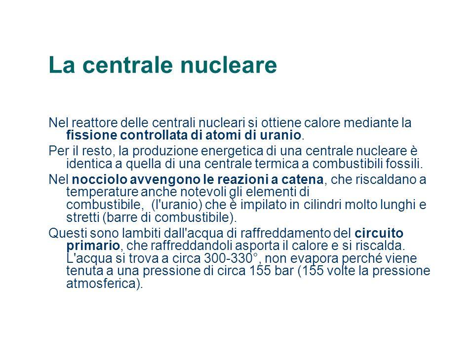 La centrale nucleare Nel reattore delle centrali nucleari si ottiene calore mediante la fissione controllata di atomi di uranio. Per il resto, la prod